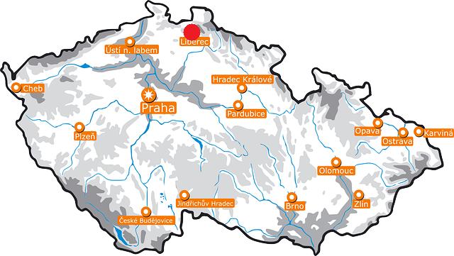 mapa republica checa