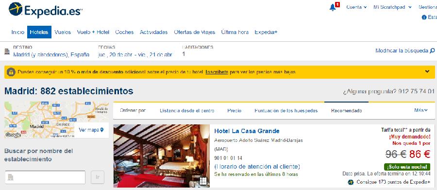 Localiza hoteles con Expedia